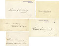 "Autographs:U.S. Presidents, Five Grover Cleveland Signatures, two as President on ExecutiveMansion cards, 4.5"" x 3""; one, a clipped signature, 3.5"" x 2...(Total: 5 Item)"
