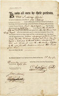 "Autographs:Statesmen, Early Pennsylvania Land Deed, partially printed, two pages, 8""x13.5"", Pennsylvania, December 23, 1785. This document transf...(Total: 1 Item)"