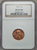 Lincoln Cents: , 1973 1C MS67 Red NGC. PCGS Population (31/0). Numismedia Wsl. Price for problem free NGC/PCGS coin in M...