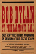 Music Memorabilia:Posters, Bob Dylan at Philharmonic Hall Concert Poster (Columbia Records,1964)....