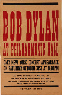 Bob Dylan at Philharmonic Hall Concert Poster (Columbia Records, 1964)