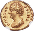 Ancients:Roman Imperial, Ancients: Diva Faustina Senior, deified wife of Antoninus Pius (died AD 141). AV aureus (21mm, 7.26 gm, 7h)....