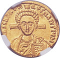 Ancients:Byzantine, Ancients: Justinian II, second reign (AD 705-711), with Tiberius. AV solidus (20mm, 4.30 gm, 6h)....