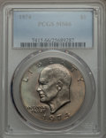 Eisenhower Dollars, 1974 $1 MS66 PCGS. PCGS Population (130/0). NGC Census: (58/1). Mintage: 27,366,000. Numismedia Wsl. Price for problem free...
