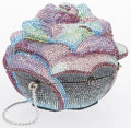 "Luxury Accessories:Accessories, Judith Leiber Full Bead Blue & Purple Crystal Rose MinaudiereEvening Bag. Excellent Condition. 4"" Width x 3.5""Height..."