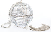 Judith Leiber Full Bead Silver Crystal Sphere Minaudiere Evening Bag with Tassel Very Good Condition