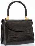 "Luxury Accessories:Accessories, Judith Leiber Black Alligator Top Handle Bag. Very Good toExcellent Condition. 7"" Width x 3.5"" Height x 5"" Depth,3.5..."