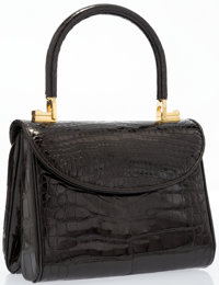"""Judith Leiber Black Alligator Top Handle Bag Very Good to Excellent Condition 7"""" Width x 3.5"""" Hei"""