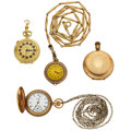 Timepieces:Other , Two Lady's Pocket Watches, One Pendant & One Gold Filled Case. ... (Total: 4 Items)