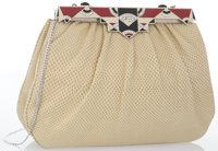 "Judith Leiber Beige Lizard Clutch Bag with Silver Hardware Good to Very Good Condition 8"" Width x"