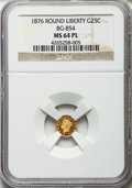 California Fractional Gold: , 1876 25C Liberty Round 25 Cents, BG-854, Low R.5, MS64 ProoflikeNGC. NGC Census: (3/2). ...