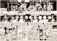 George Perez and Dick Giordano Crisis on Infinite Earths #2 Double Page Spread 9-10 Original Art Group of 2 (DC, 1... (T...