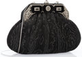 """Luxury Accessories:Accessories, Judith Leiber Black Suede Evening Bag with Silver Hardware. VeryGood Condition. 9.5"""" Width x 6"""" Height x 2.5"""" Depth, ..."""