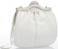 "Judith Leiber White Lizard Evening Bag with Silver Crystal Closure Good Condition 8"" Width x 7.5"""