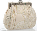 "Luxury Accessories:Accessories, Judith Leiber Beige Satin Evening Bag with Cabochon Closure.Good to Very Good Condition. 7"" Width x 8"" Height x 1""De..."