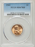 Lincoln Cents, 1962 1C MS67 Red PCGS. PCGS Population (14/0). NGC Census: (30/0). Mintage: 609,263,040. Numismedia Wsl. Price for problem ...