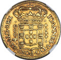 Brazil: Joao V gold 4000 Reis 1715-R AU Details (Scratches) NGC