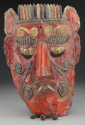 American Indian Art:Wood Sculpture, Devil / Indian Mask, Mexican . 20th c....