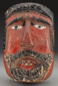 American Indian Art:Wood Sculpture, Moor Mask, Mexican or Guatemalan. 20th c....
