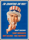 "Movie Posters:War, World War II Propaganda (U.S. Government Printing Office, 1943).OWI Poster No. 78 (16"" X 22.25""). ""I'm Counting on You!"" Wa..."