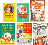 Little Orphan Annie Secret Society Booklet Radio Premium Group of 6 (Ovaltine/NBC, 1934-39).... (Total: 6 Items)
