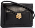 "Luxury Accessories:Accessories, Tiffany Black Lizard Shoulder Bag with Gold Hardware. Very Goodto Excellent. 9"" Width x 6.5"" Height x 2"" Depth, 10""S..."