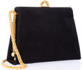 "Luxury Accessories:Bags, Paloma Picasso Black Suede Evening Bag. Good Condition. 8.5""Width x 6.5"" Height x 3"" Depth, 20"" Shoulder Drop. ..."
