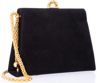 """Paloma Picasso Black Suede Evening Bag Good Condition 8.5"""" Width x 6.5"""" Height x 3"""" Depth, 20"""" Shoul..."""