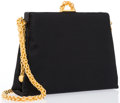 "Luxury Accessories:Bags, Paloma Picasso Black Satin Evening Bag. Good Condition.7.5"" Width x 6.5"" Height x 2.5"" Depth, 19"" Shoulder Drop...."