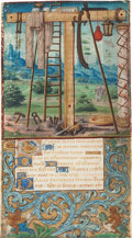 "Books:Prints & Leaves, [Illuminated Manuscript] Medieval Miniature on a Vellum Leaf From aFrench Book of Hours in Latin by the ""Monkey Master"": The..."