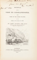 Books:Travels & Voyages, John Auldjo. INSCRIBED. Journal of a Visit To Constantinople, and Some Of The Greek Islands, In The Spring and Summer of...