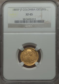 Colombia, Colombia: Charles IV gold Escudo 1805 P-JF XF45 NGC,...