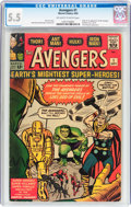 Silver Age (1956-1969):Superhero, The Avengers #1 (Marvel, 1963) CGC FN- 5.5 Off-white to white pages....