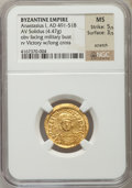 Ancients:Byzantine, Ancients: Anastasius I (491-518). AV solidus (4.47 gm). NGC MS 5/5- 3/5, scratched....