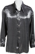 Music Memorabilia:Memorabilia, Elvis Presley Owned and Worn Silver Silk Shirt (1960s)....
