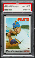 Baseball Cards:Singles (1970-Now), 1970 Topps Mike Hershberger #596 PSA Gem Mint 10....