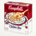 Post-War & Contemporary:Pop, Andy Warhol (American, 1928-1987). Campbell's Soup Box (ChickenRice), 1986. Acrylic and silkscreen ink on canvas. 20 x ...