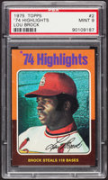Baseball Cards:Singles (1970-Now), 1975 Topps '74 Highlights Lou Brock #2 PSA Mint 9....