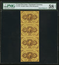 Fractional Currency:First Issue, Fr. 1230 5¢ First Issue Vertical Strip of Four PMG Choice About Unc 58 Net.. ...