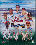 Baseball Collectibles:Photos, St. Louis Cardinals MVPs Multi Signed Oversized Print....