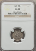 Three Cent Nickels: , 1872 3CN MS62 NGC. NGC Census: (31/103). PCGS Population (18/150). Mintage: 861,000. Numismedia Wsl. Price for problem free...
