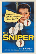 "Movie Posters:Crime, The Sniper (Columbia, 1952). One Sheet (27"" X 41"") & LobbyCards (7) (11"" X 14""). Crime.. ..."