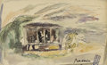Fine Art - Painting, European:Modern  (1900 1949)  , JULES PASCIN (French 1885-1930). Tunis (?). Ink andwatercolor on paper. 4 x 6 inches (10.2 x 15.2 cm). Signed lower...