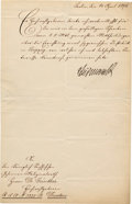 Autographs:Statesmen, German Chancellor Otto Leopold von Bismarck Document Signed...