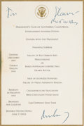 Autographs:U.S. Presidents, John F. Kennedy Signed Menu. ...