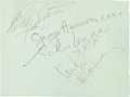 Music Memorabilia:Autographs and Signed Items, The Beatles: Small Page Featuring the Signatures of All FourBeatles....