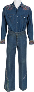 "Music Memorabilia:Memorabilia, Rick Nelson Stage Worn Denim Pants and Shirt From ""Garden Party"" Video (1970).... (Total: 2 Items)"