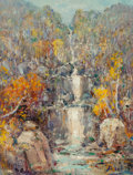 Fine Art - Painting, American:Modern  (1900 1949)  , Henry Hammond Ahl (American, 1869-1953). Silver Cascade,Crawford Notch, New Hampshire. Oil on canvasboard. 12 x 9inche...
