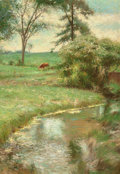 Fine Art - Painting, American:Modern  (1900 1949)  , Richard Earl Thompson (American, 1914-1991). Cattle Grazing.Oil on canvas. 38 x 26-1/4 inches (96.5 x 66.7 cm). Signed ...