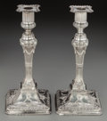 Silver Holloware, British:Holloware, A Pair of John Winter & Co. George III Weighted Silver Ram'sHead Candlesticks, Sheffield, England, circa 1776. Marks: (lion...(Total: 2 Items)